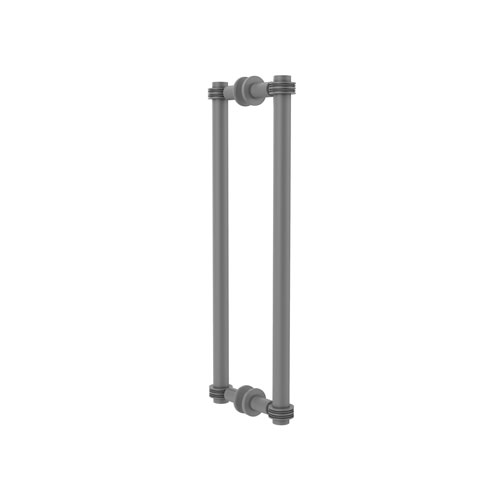 Matte Gray 18-Inch Back to Back Shower Door Pull with Dotted Accent