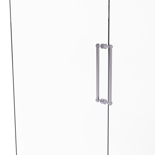 Polished Chrome 18-Inch Back to Back Shower Door Pull with Dotted Accent
