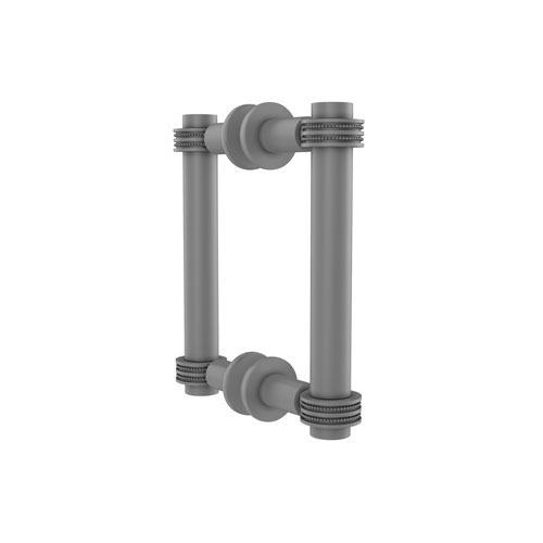Matte Gray Eight-Inch Back to Back Shower Door Pull with Dotted Accent