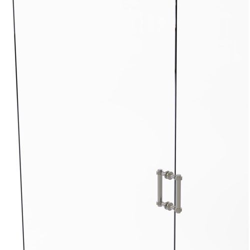 Satin Nickel Six-Inch Back to Back Shower Door Pull with Dotted Accent