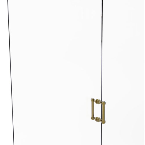 Unlacquered Brass Six-Inch Back to Back Shower Door Pull with Dotted Accent