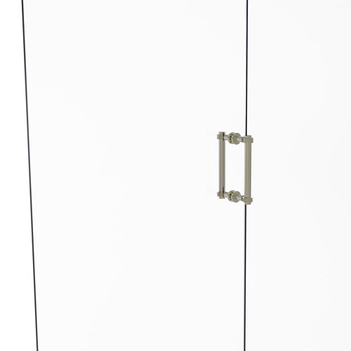 Polished Nickel Eight-Inch Back to Back Shower Door Pull with Dotted Accent