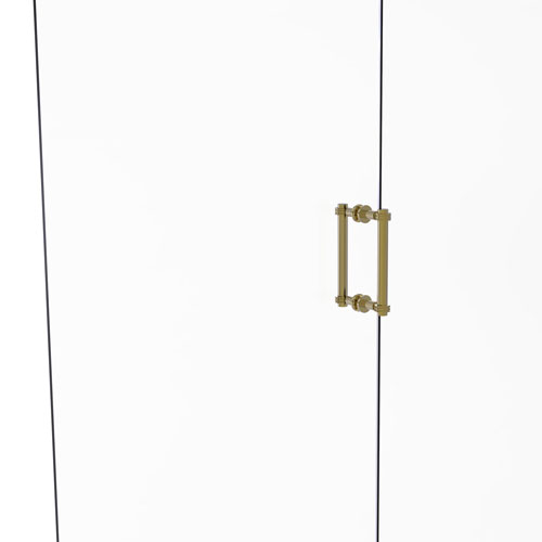 Unlacquered Brass Eight-Inch Back to Back Shower Door Pull with Dotted Accent