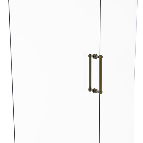 Antique Brass 12-Inch Back to Back Shower Door Pull with Grooved Accent