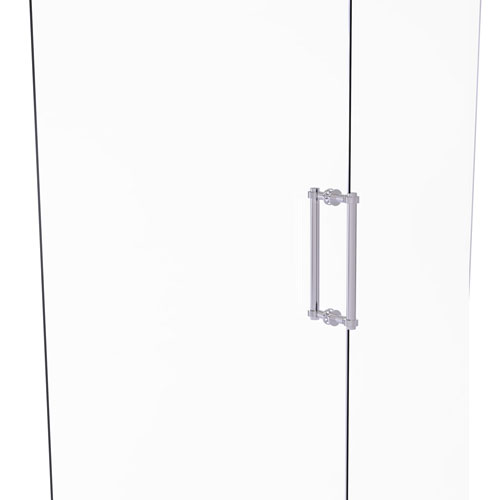 Polished Chrome 12-Inch Back to Back Shower Door Pull with Grooved Accent