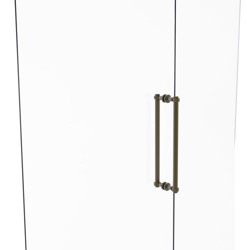 Antique Brass 18-Inch Back to Back Shower Door Pull with Grooved Accent