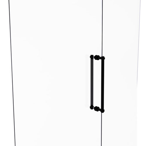 Matte Black 18-Inch Back to Back Shower Door Pull with Grooved Accent