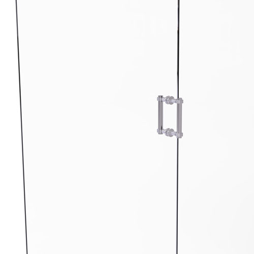 Satin Chrome Six-Inch Back to Back Shower Door Pull with Grooved Accent