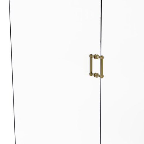 Unlacquered Brass Six-Inch Back to Back Shower Door Pull with Grooved Accent