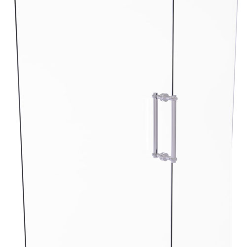 Polished Chrome 12-Inch Back to Back Shower Door Pull with Twisted Accent