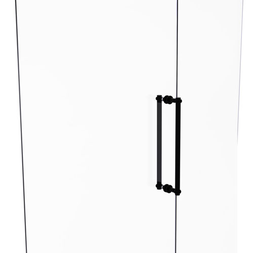 Matte Black 18-Inch Back to Back Shower Door Pull with Twisted Accent