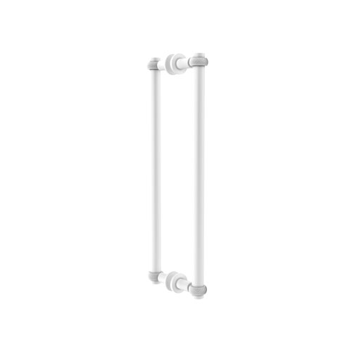 Matte White 18-Inch Back to Back Shower Door Pull with Twisted Accent