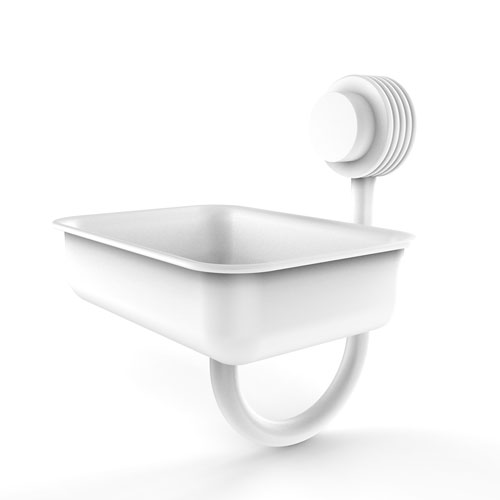 Venus Matte White Five-Inch Wall Mounted Soap Dish with Groovy Accents