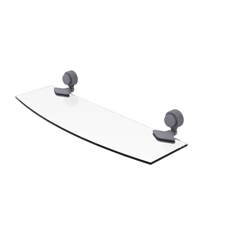 Venus Matte Gray 18-Inch Glass Shelf with Groovy Accents