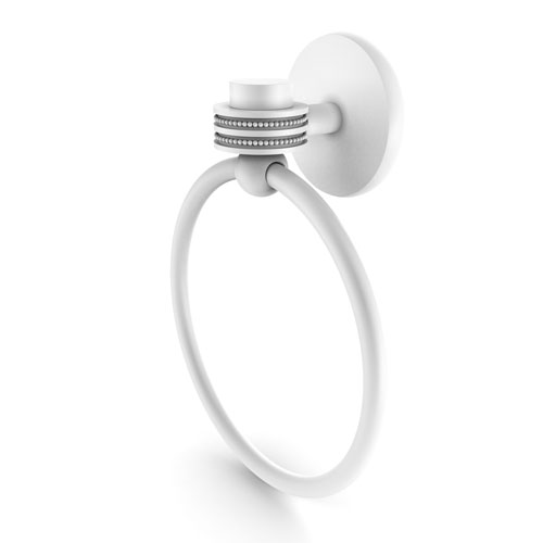 Satellite Orbit One Matte White Two-Inch Towel Ring with Dotted Accents