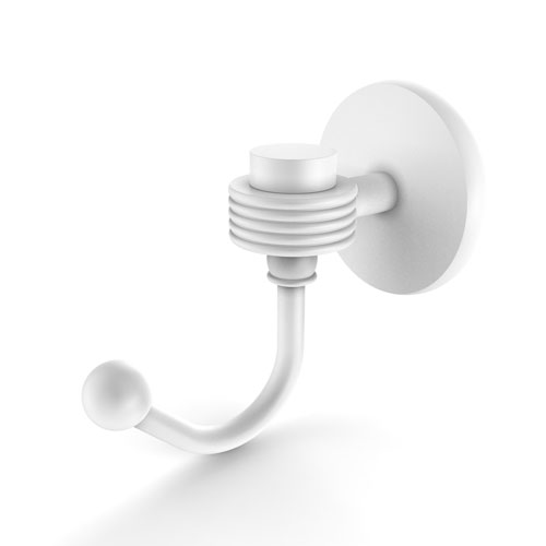 Satellite Orbit One Matte White Three-Inch Robe Hook with Groovy Accents