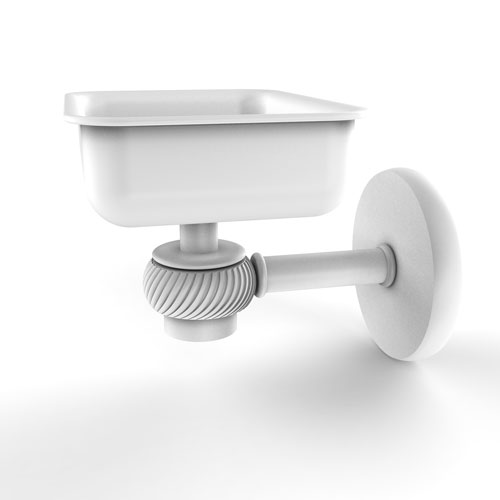 Satellite Orbit One Matte White Four-Inch Wall Mounted Soap Dish with Twisted Accents