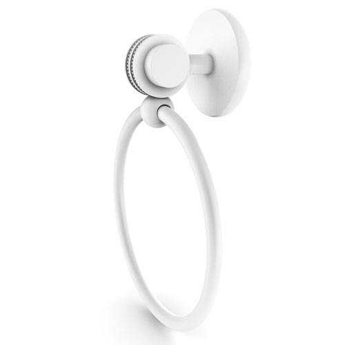 Satellite Orbit Two Matte White Four-Inch Towel Ring with Dotted Accents