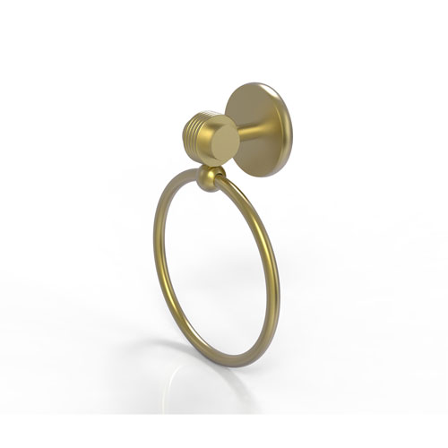 Satellite Orbit Two Satin Brass Four-Inch Towel Ring with Groovy Accents