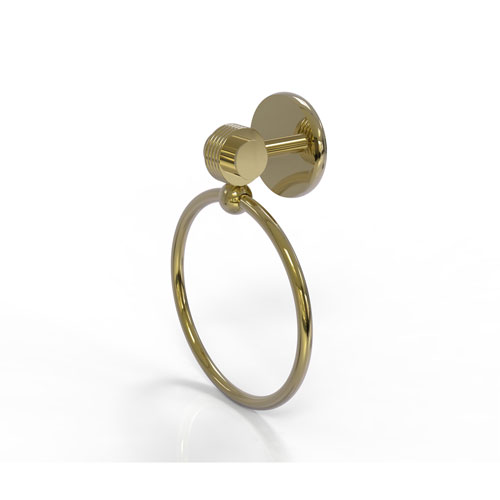 Satellite Orbit Two Unlacquered Brass Four-Inch Towel Ring with Groovy Accents