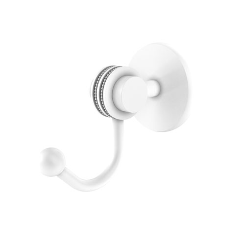 Satellite Orbit Two Matte White Three-Inch Robe Hook with Dotted Accents
