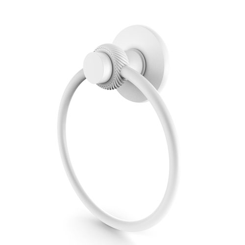 Mercury Matte White Two-Inch Towel Ring with Twist Accents