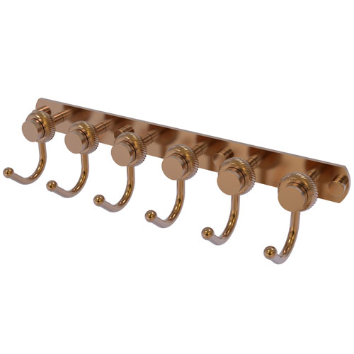 Mercury Brushed Bronze Four-Inch Six-Position Tie and Belt Rack with Twisted Accent