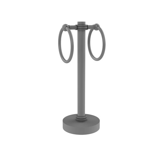 Matte Gray Five-Inch Vanity Top Two-Towel Ring Guest Towel Holder with Dotted Accents