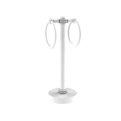 Matte White Five-Inch Vanity Top Two-Towel Ring Guest Towel Holder with Dotted Accents
