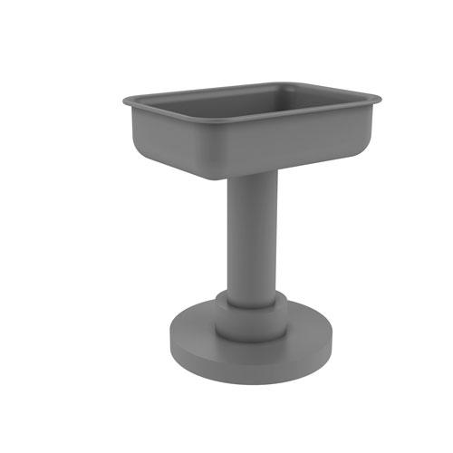Matte Gray Four-Inch Soap Dish