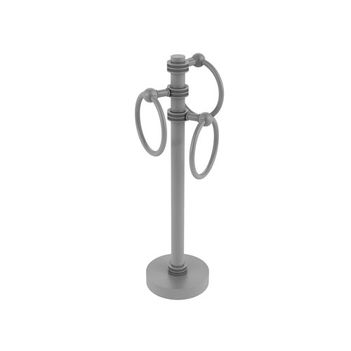 Matte Gray Eight-Inch Vanity Top Three-Towel Ring Guest Towel Holder with Dotted Accent