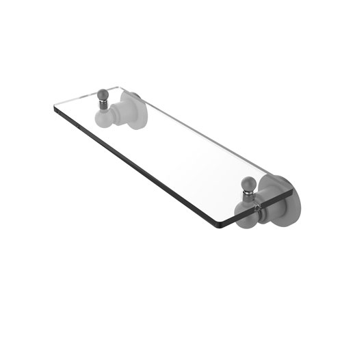 Astor Place Matte Gray 16-Inch Glass Vanity Shelf with Beveled Edges
