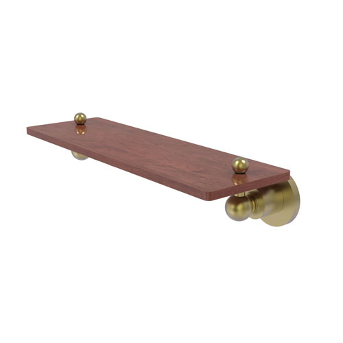 Astor Place Satin Brass 16-Inch Solid IPE Ironwood Shelf
