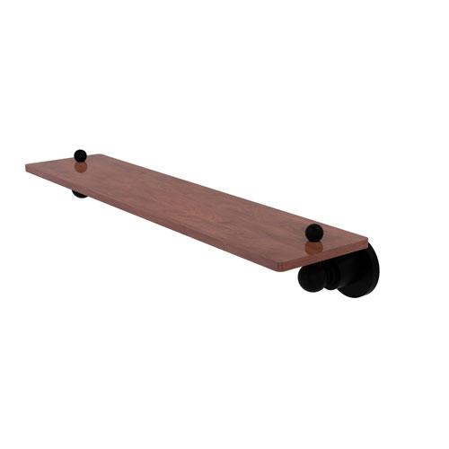 Astor Place Matte Black 22-Inch Solid IPE Ironwood Shelf