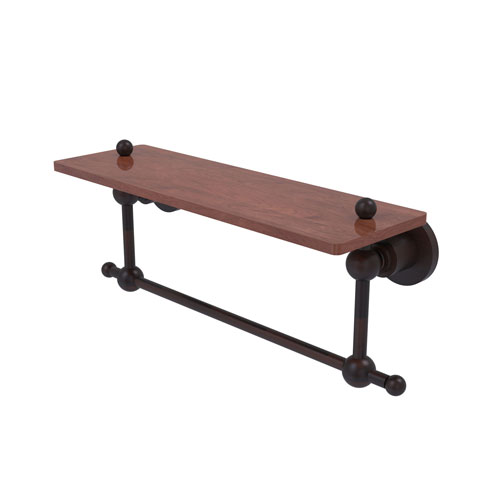 Astor Place Venetian Bronze 16-Inch Solid IPE Ironwood Shelf with Integrated Towel Bar