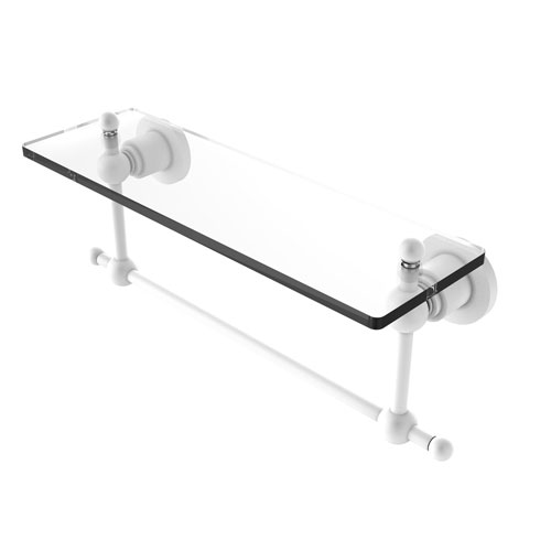 Astor Place Matte White 16-Inch Glass Vanity Shelf with Integrated Towel Bar