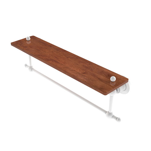 Astor Place Matte White 22-Inch Solid IPE Ironwood Shelf with Integrated Towel Bar