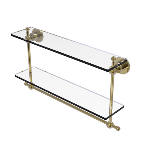 Astor Place Unlacquered Brass 22-Inch Two Tiered Glass Shelf with Integrated Towel Bar