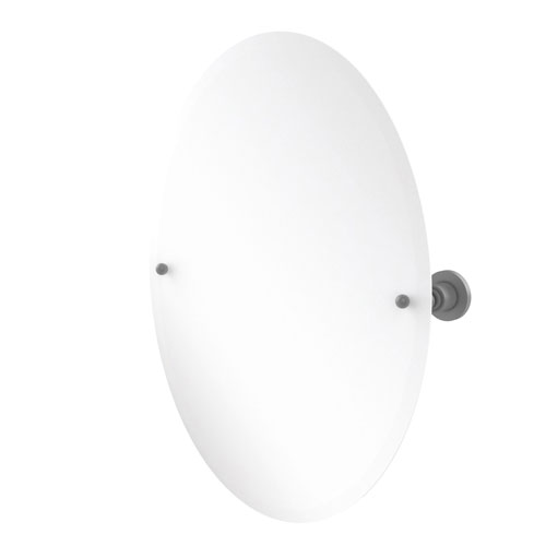 Astor Place Matte White 21-Inch Frameless Oval Tilt Mirror with Beveled Edge