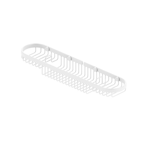 Matte White Four-Inch Oval Combination Shower Basket