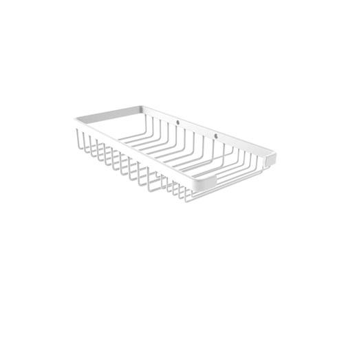 Matte White Five-Inch Rectangular Combination Shower Basket