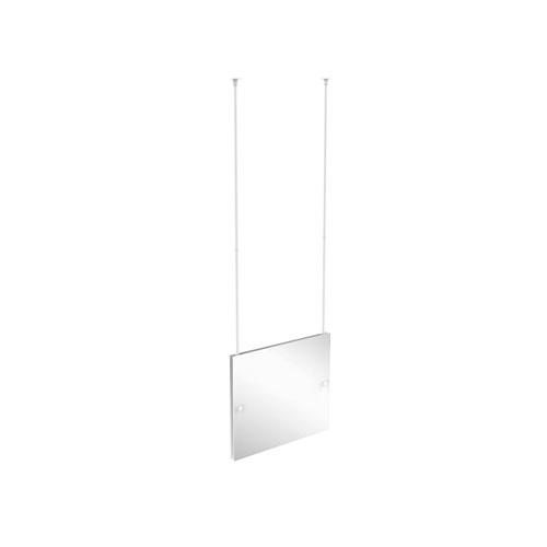 Matte White Three-Inch Frameless Rectangular Landscape Ceiling Hung Mirror with Beveled Edge