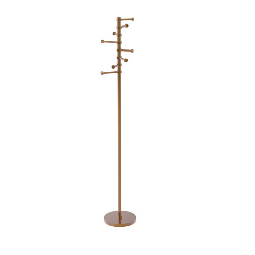 Brushed Bronze 10-Inch Free Standing Coat Rack with Six Pivoting Pegs