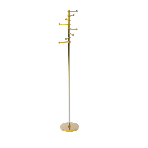 Polished Brass 10-Inch Free Standing Coat Rack with Six Pivoting Pegs