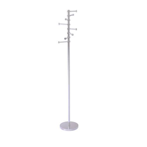 Satin Chrome 10-Inch Free Standing Coat Rack with Six Pivoting Pegs