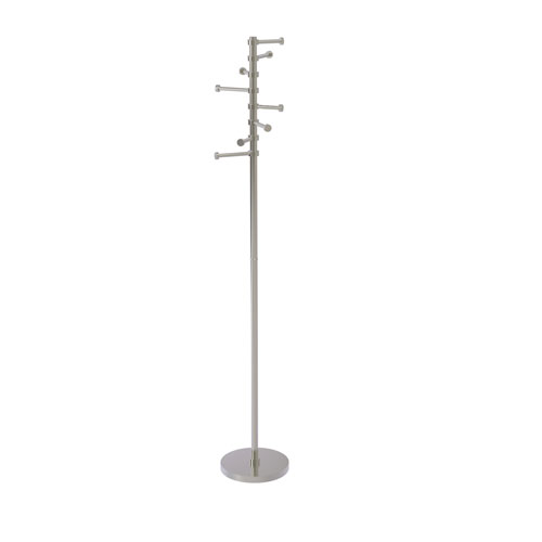 Satin Nickel 10-Inch Free Standing Coat Rack with Six Pivoting Pegs