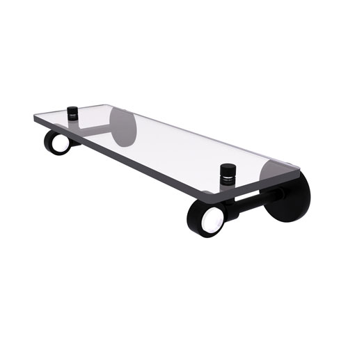 Clearview Matte Black 16-Inch Glass Shelf