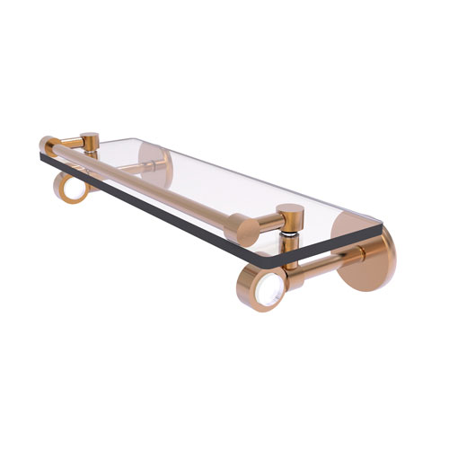Clearview Brushed Bronze 16-Inch Glass Shelf with Gallery Rail