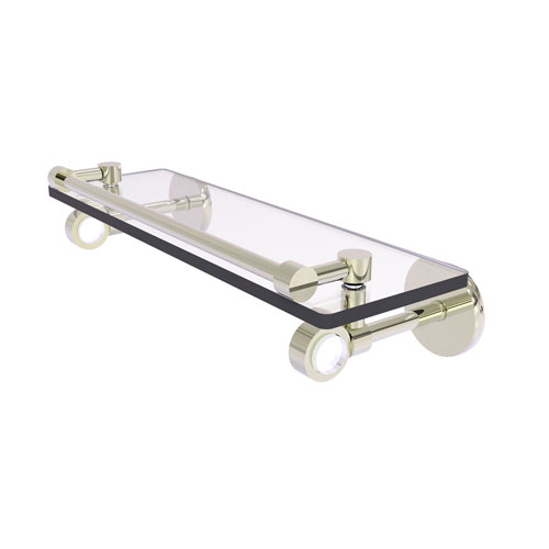 Clearview Polished Nickel 16-Inch Glass Shelf with Gallery Rail