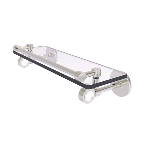 Clearview Satin Nickel 16-Inch Glass Shelf with Gallery Rail